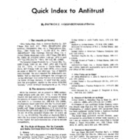 Quick Index to Antitrust