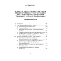 A Judicial and Economic Analysis of Attorney's Fees in Trust Litigation and the Resulting Inequitable Treatment of Trust Beneficiaries