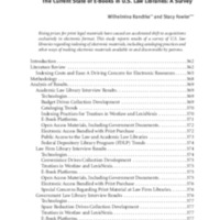 The Current State of E-Books in U.S. Law Libraries: A Survey