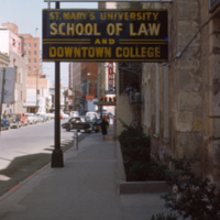 Sign over the door of the St. Mary's University School of Law Downtown Campus